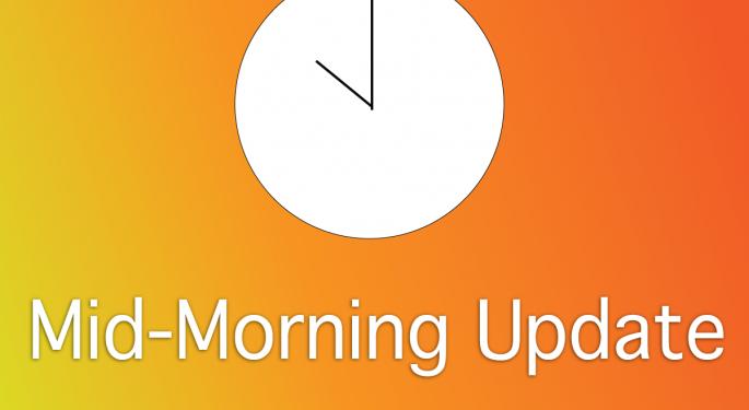 Mid-Morning Market Update: Markets Open Higher, Nasdaq OMX Group To Acquire eSpeed Platform
