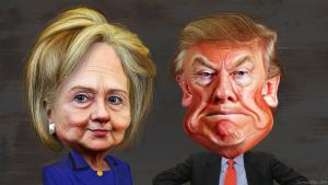 By DonkeyHotey (Hillary Clinton vs. Donald Trump - Caricatures) [CC BY-SA 2.0],