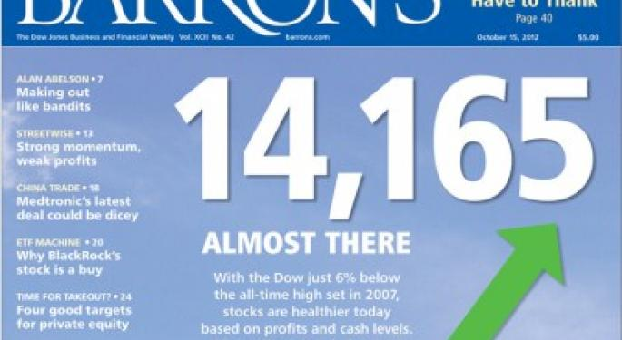 Barron's Recap 10/13/12: Almost There