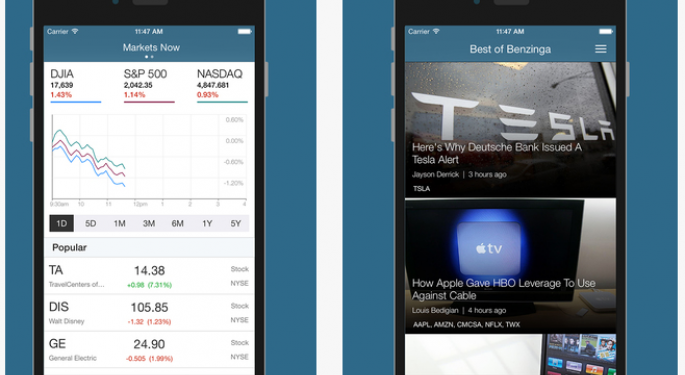 New Must-Have Finance Mobile Apps: Benzinga v2.2 And Marketfy Land At The App Store