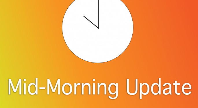 Mid-Morning Market Update: Dendreon Continues to Rise, Apple Feels the Heat